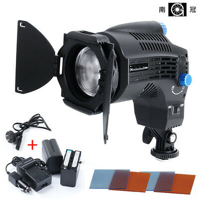 Nanguang CN-8F On Camera Daylight Fresnel Dimmable LED Light + 2 NP-F970 Battery