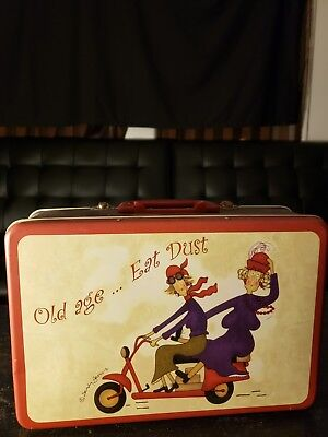 Tin lunch box Old Age ... Eat Dust Sandy Jervais