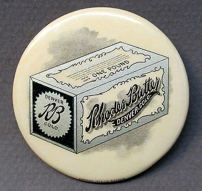 circa 1910 RHODES BUTTER Denver COLORADO Dairy celluloid pocket mirror *