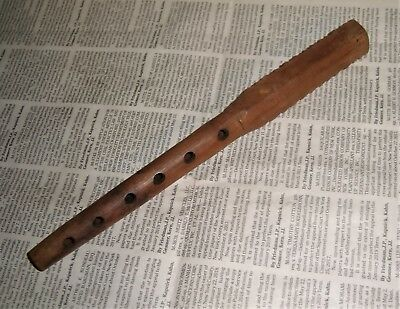 Carved Wood FLUTE Yugoslavia wooden wind instrument folk old vintage primitive