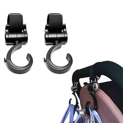 2X Shopping Bag Buggy Hooks For Pram Pushchair Stroller Clips Large Hand Carry