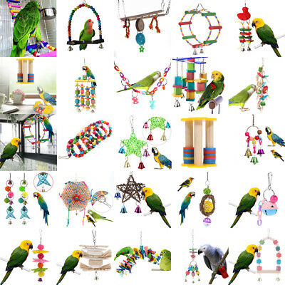 Pet Bites Parrot Bird Climb Chew Toys Bell Swing Cage Hanging Cockatiel Parakee