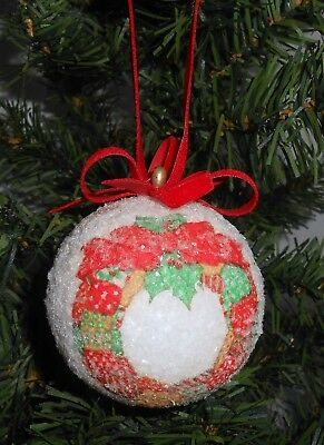 Vintage Sugar Coated Wreath Ball Christmas Ornament    B27