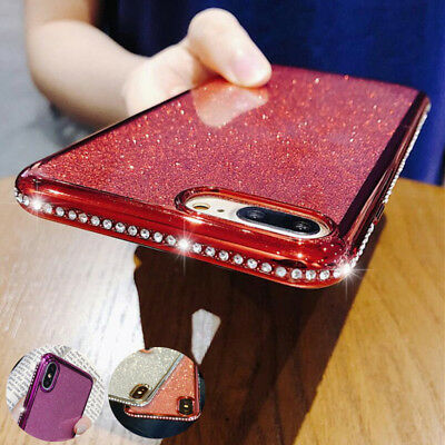 Bling Glitter Diamonds Plating Bumper Soft Silicone Case Cover For iPhone XS Max