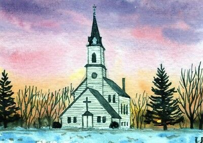 ACEO Original Watercolor Landscape Sunset Winter and Country Church/Snow ATC
