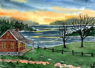 ACEO Original Watercolor Painting Landscape Sunset Lake and Forest Cabin/Cottage
