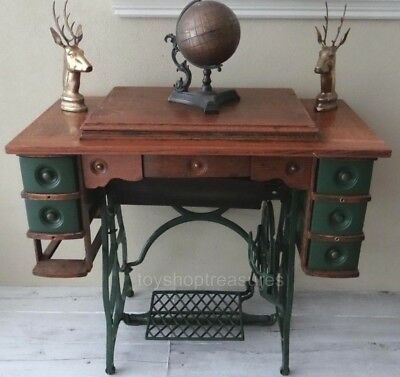 Ornate Treadle Antique Sewing Machine Cabinet Drawers Table Desk - Adelaide