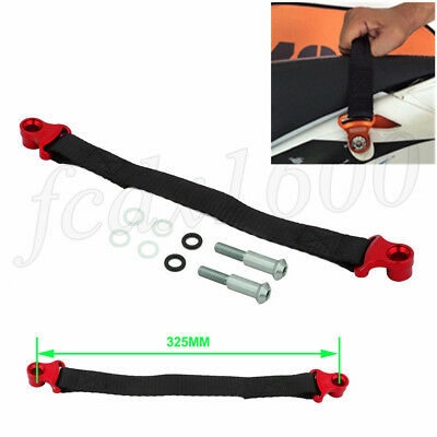 Red CNC Motocycle Pull Handle Easy Lift Belt Towing Strap Univresal Dirt Bike 1x