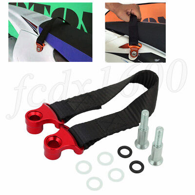 Red CNC Motocycle Rear Pull Strap Tow Belt For Honda Yamaha Suzuki Dirt Pit Bike