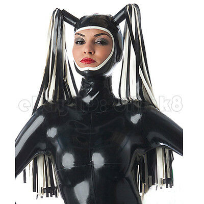 Sexy Latex Hood Rubber Mask Gummi 0.4mm with Tails for Catsuit Unisex Party Wear