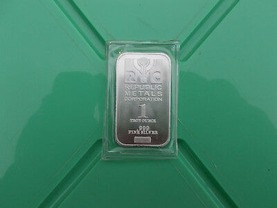 1 oz Republic Metals (RMC) Silver Bar .999 silver, full luster!