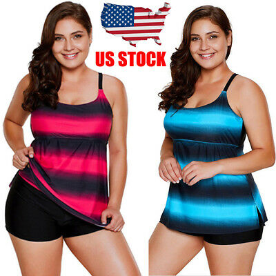Plus Size Women Tankini 2 Piece Bathing Suit Set Layered Solid Colored Swimsuit