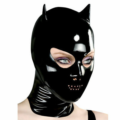 Sexy Black Latex Mask Rubber Hood with Small Ear Gummi 0.4mm for Catsuit Wear
