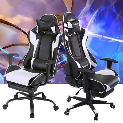 High Back Racing Chair Gaming Chair Ergonomic Recliner Office Desk Seat Footrest