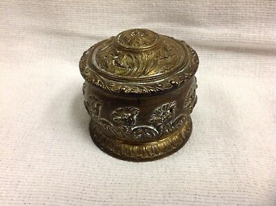 ANTIQUE ART Nouveau flowers brass embossed poppies TINKET BOX