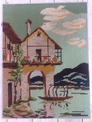 Fab Vtg Completed Tapestry Italian Villa By The River design Upcycle Craft Reuse