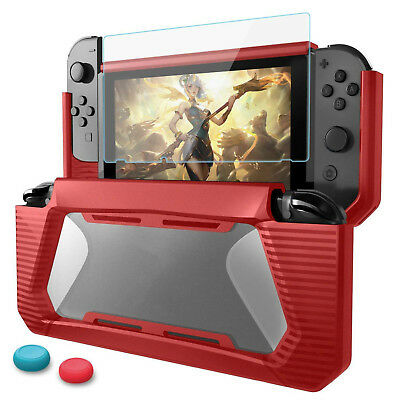 For Nintendo Switch Hybrid Rubberized Case Hard Cover + Tempered Glass Protector