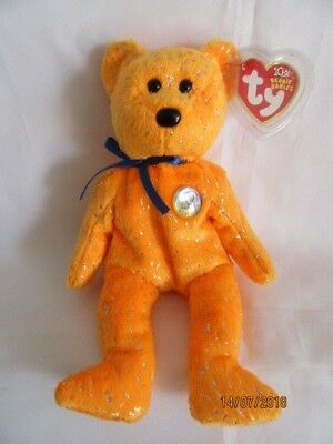 Ty Beanie Baby Decade Bear - Orange - Mint - Retired