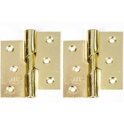 "2x LEFT HAND 75mm/3"" RISING HINGE Thick Brass Steel Lift Off Door Frame Hang Set"
