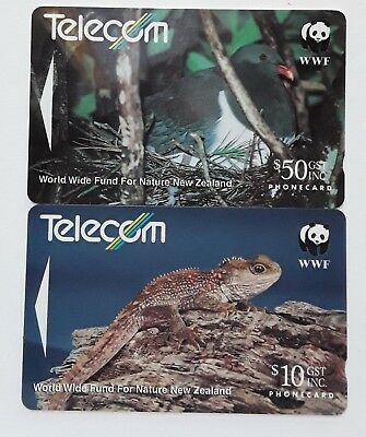 Telecom Phonecards  New Zealand WWF NATURE SERIES 2 Cards Used Collectors