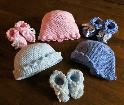 Handmade Crochet Baby Booties and Hat Set - Choice of color - Free Shipping