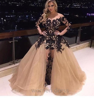 Champagne Off Shoulder Prom Dress Detachable Train Long Sleeve Evening Gown