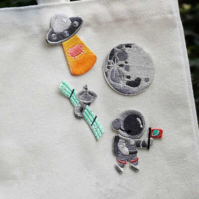 Space Astronaut UFO Embroidered Sew On Iron On Patch Badge Fabric DIY Crafts