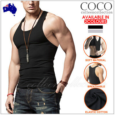 Mens Muscle Singlet Sleeveless Tank Top Tee Shirt Sport Vest Bodybuilding Gym