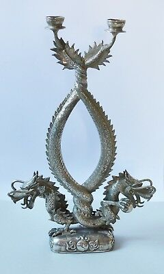 H. 52 Antique Chinese Qing Dynasty Silver- Plated Candlestick Dragon Sun