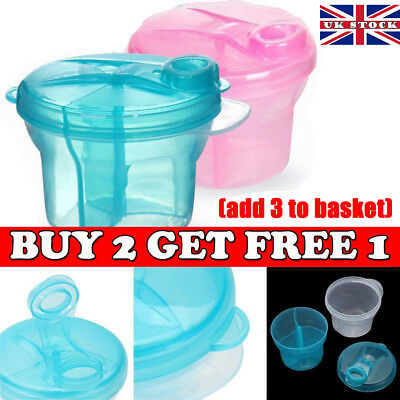 Milk Powder Dispenser 3 Dose of Baby Feeding Formula Storage Pot Container Solid