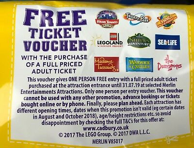 2x Free Merlin Ticket Voucher Coupon Chessington Alton Towers Thorpe = 2 for 1