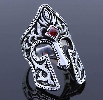 925 sterling silver medieval age KNIGHT helmet figured men ring carbuncle All SZ