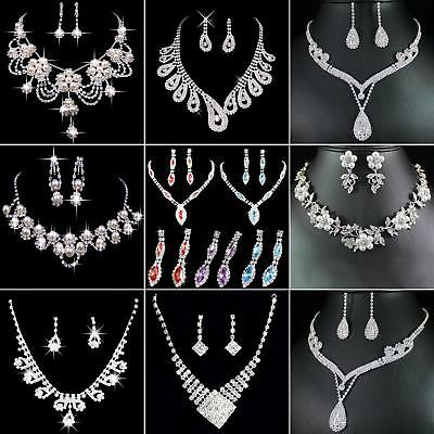 BU_ Prom Wedding Party Bridal Jewelry Diamante Crystal Necklace + Earrings Sets
