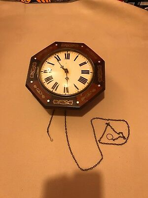 Antique Octagonal Postman's Clock with Brass Inlay - inc. pendulum and weights