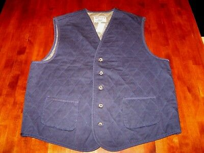 NOS NWT Vintage Adirondack by Saville Row Vest QUILTED COTTON SZ LG BLUE USA