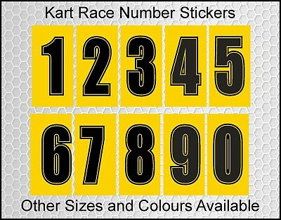 Kart Race Number | 0 to 9 | Yellow and Black | Self Adhesive Vinyl | KA356