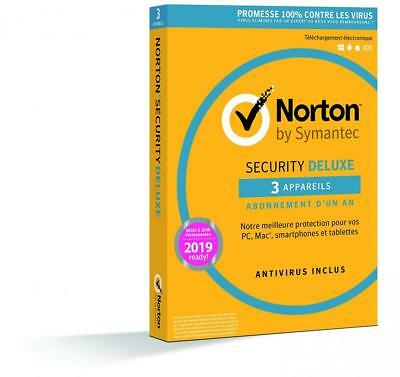 Norton Security Deluxe 2019 | 3 Appareils | 1 an | PC/Mac/iOS/Android |...