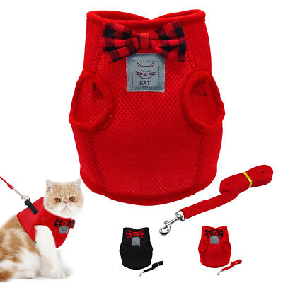 Soft Mesh Cat Harness and Leash set Cute Bowtie for Small Puppy Kitten Clothes