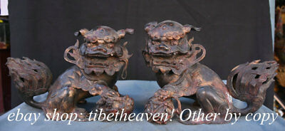 """9.6"""" Old Chinese Purple Bronze Palace Feng Shui Foo Dog Ball Sculpture Pair"""