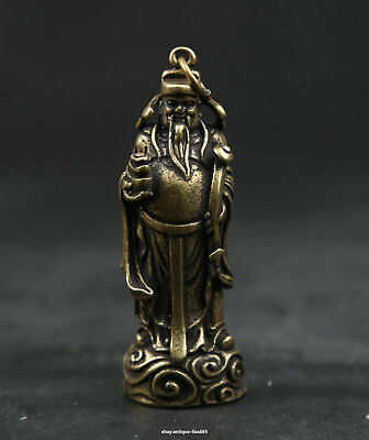 56MM Small Curio Chinese Fengshui Bronze Taoism Mammon Money Wealth God Pendant
