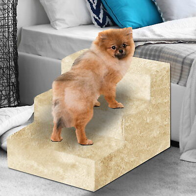 3 Steps Pet Stairs Cat step Ladder Dog Sofa Bed Climb Ramp Mat Cushion Folding