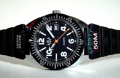 RE WATCH vintage divers styl watch Unisex Date Space Age 60er TOP & RARE
