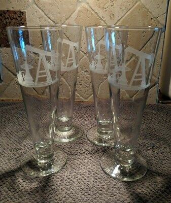 Set of 4 Matching Perry Coyle Signed Crystal Glass Footed Glass Oil Derrick Etch