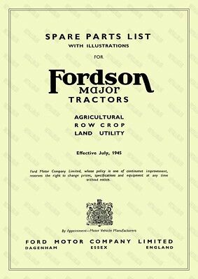 FORDSON MAJOR TRACTOR Illustrated Spare Parts List - 60 Pages