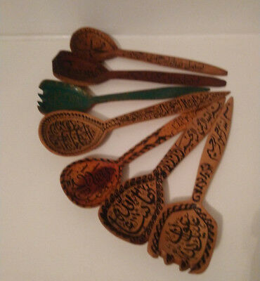 7 x Vintage Hand Carved/Painted Decorative Wooden Spoons & Forks Arabic Writing.