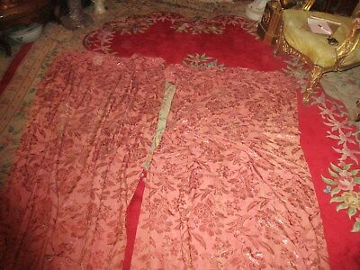 (1) Pair of Antique French Rose-dusty pink  drapes Floral Pattern not Lined