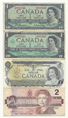 4 x CANADA BANK NOTES (54, 67 & 73 one dollar and 1986 two dollar)