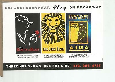 Three Hot Shows, Disney on Broadway Postcard, unposted