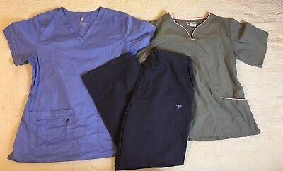 Med Couture Active Uniforms Scrubs Shirts Pants Women's Size Large Lot Of 3