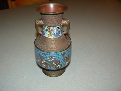 Antique Asian Cloisonne Bronze Vase/container With Elephant Ears